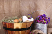 Big round basket with dried grass and fresh eggs on sacking background — Stock Photo