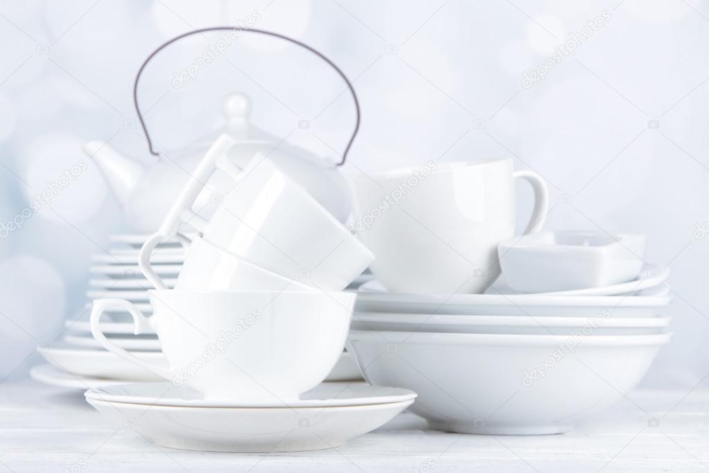 Blancos vajilla y utensilios de cocina de mesa de madera for Utensilios de cocina fondo