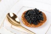Black caviar on crispy bread on plate closeup — Stock fotografie