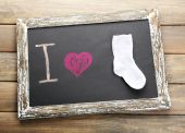 I love childhood written on chalkboard — Stock Photo