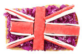 Sandwich with flag of Great Britain Isolated on  white — Stock Photo