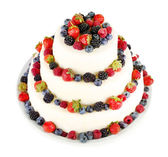 Beautiful wedding cake with berries, isolated on white — Stock Photo
