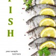 Fresh fishes with lemon, parsley and spice isolated on white — Stock Photo #52694885