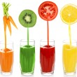 Juice pouring from fruits and vegetables into glass, isolated on white — Stock Photo #52694893