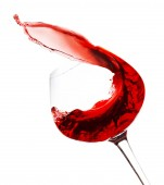 Wineglass with red wine, isolated on white — Stock Photo