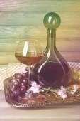 Beautiful still life with wine bottles — Stock Photo