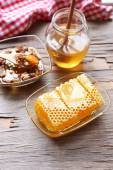 Fresh honey and healthy snack on wooden table — Foto de Stock