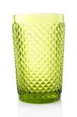 白で隔離されるグリーン ガラス — ストック写真