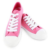 Pink trainers isolated on white — Stock Photo