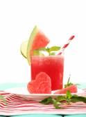 Watermelon cocktail on table, isolated on white — Foto Stock