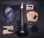 Music equipment, clothes and footwear — Stock Photo