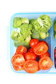 Vegetarian food in plastic box — Stock Photo
