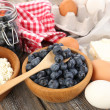 Fresh blueberries and milk products on wooden table — Stock Photo #52793223
