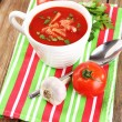 Tasty tomato soup with croutons on table close-up — Stock Photo #52793347