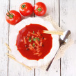 Tasty tomato soup with croutons on table close-up — Stock Photo #52793349