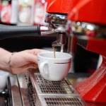 Coffee machine preparing cup of coffee, close up — Stock Photo