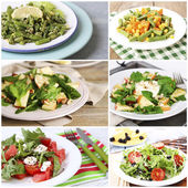 Collage of tasty salads — Foto de Stock