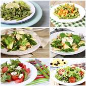 Collage of tasty salads — 图库照片