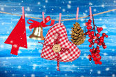 Christmas decorations on wooden background — Stockfoto