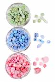 Beads in glass bowls — Stock Photo