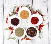 Spice with herbs and dried chilly pepper — Stock Photo