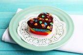 Delicious rainbow mini cake  on bright background — Stock Photo