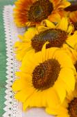 Beautiful sunflowers in pitcher on napkin on table close up — Stock Photo
