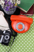 Retro composition with old phone and another things, close up — Stock Photo