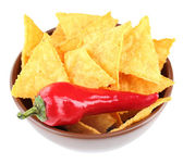 Tasty nachos  on color bowl, isolated on white — Stock Photo
