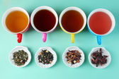 Assortment of tea on color background — Foto Stock