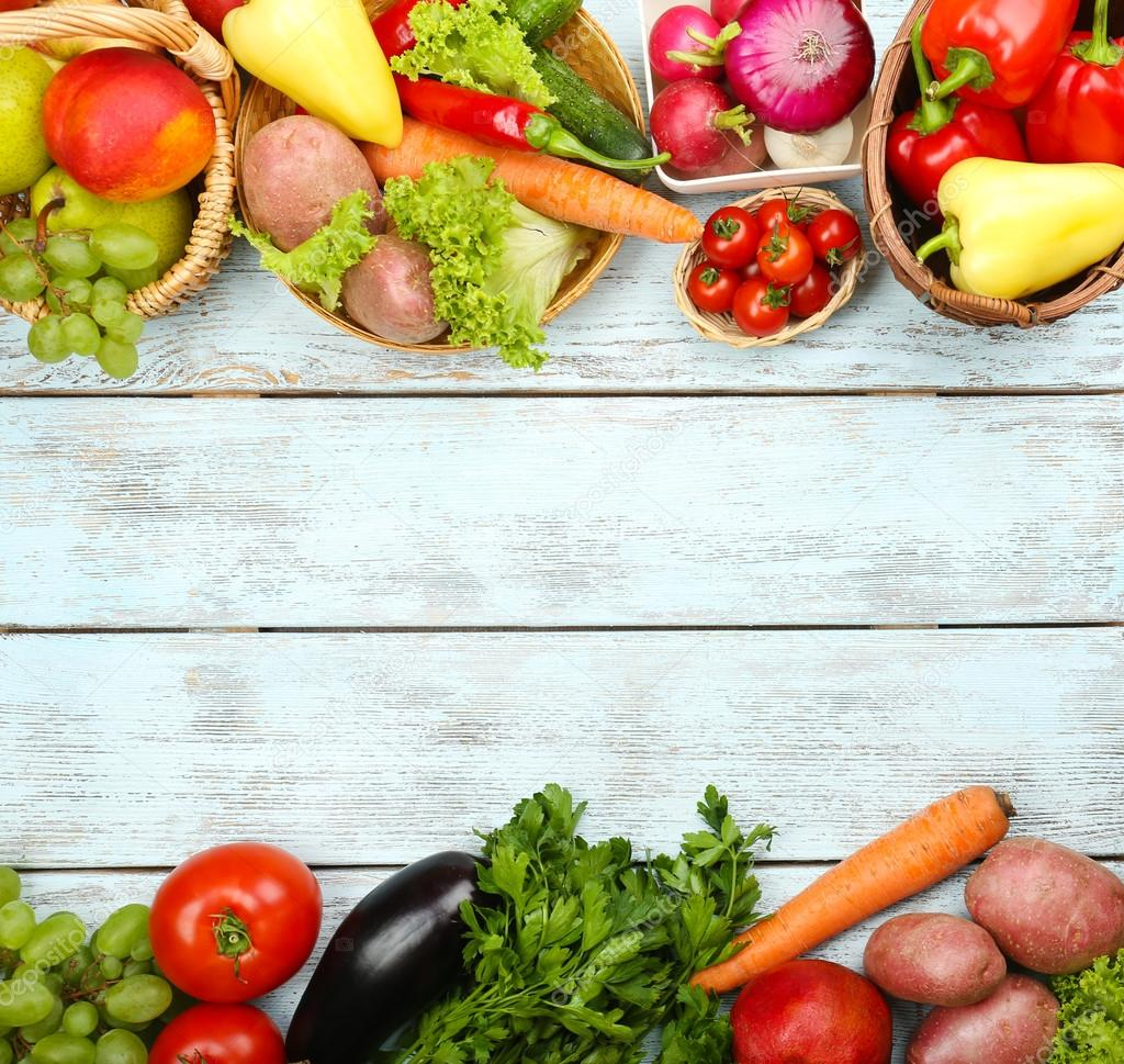 Summer frame with fresh organic vegetables and fruits on ...