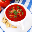 Tasty tomato soup with croutons on table close-up — Stock Photo #52843885
