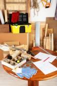 Working tools in workshop — Stockfoto