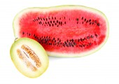 Melon and watermelon isolated on white — Stock Photo