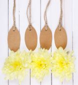 Beautiful chrysanthemum flowers and empty tags on white wooden background — Stock Photo