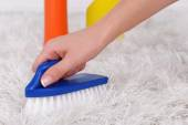 Cleaning carpet with brush close up — Stockfoto