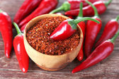 Milled red chili pepper in bowl — Stock Photo