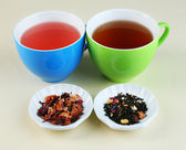 Assortment of tea on color background — Stockfoto