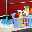 Different tools for cleaning in kitchen — Foto Stock #52914737