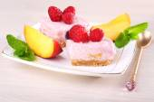 Cake with fruits and berries on plate on wooden background — Stock Photo