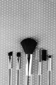 Brushes for makeup on grey background — Stock fotografie