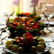 Restaurant table setting with tasty food — Stock Photo #53024451