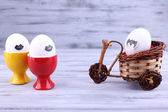 Eggs in egg cups — Stock Photo
