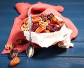 Tasty dates fruits in bowl — Stockfoto