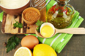 Mayonnaise ingredients on wooden background — Foto Stock
