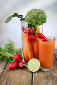 Fresh carrot juice with vegetables — Stock Photo