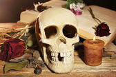 Human skull with dried rose petals and candle on wooden table, close-up — Stock Photo