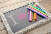 I love drawing written on chalkboard, close-up — Stock Photo