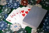 Cards and chips for poker — Stock Photo
