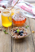 Fresh snack with honey on wooden table — Stock Photo
